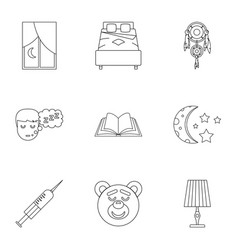Time to sleep icon set outline style vector