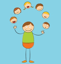 Stick figure juggling heads vector