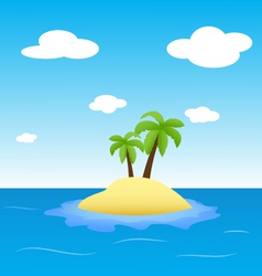 Island in the ocean with two palms vector
