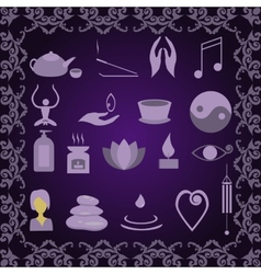Set of icons meditation vector
