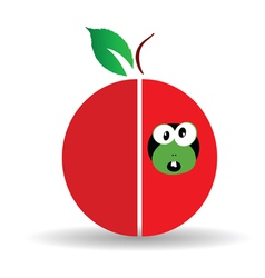 Red apple art with cute worm vector