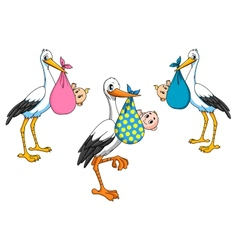 Cute cartoon storks carrying babies vector