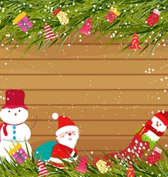 Christmas background with snowman and santa claus vector