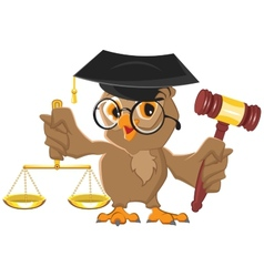 Owl judge holding gavel and scales vector