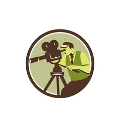 Cameraman director vintage camera retro vector