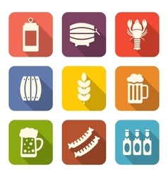 Collection minimal icons of beers and snacks vector