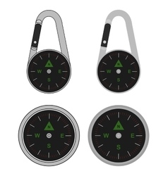 Pocket travel compass on carabiner vector