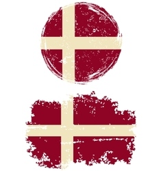 Danish round and square grunge flags vector