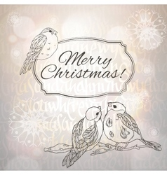 Merry christmas greeting card with bullfinches and vector