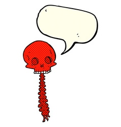 Spooky cartoon sull and spine with speech bubble vector