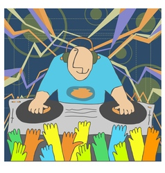 Cartoon funny dj vector
