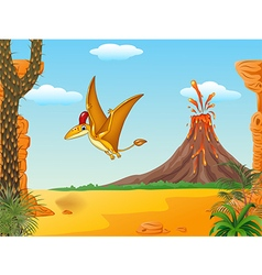 Cartoon funny pterodactyl flying vector image