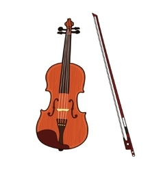 Wooden colorful violin with bow isolated on white vector