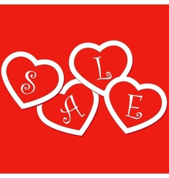 Sale hearts tags stickers vector