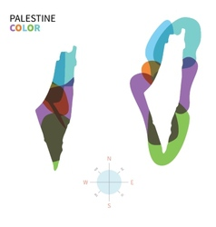 Abstract color map of palestine vector