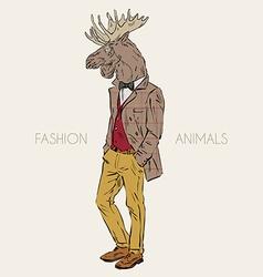 Anthropomorphic design of moose hipster vector