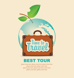 Banner with a travel suitcase and planet earth vector