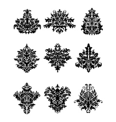 Black flowers in retro damask style vector image