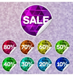 Bright sale stickers with triangle lighting inside vector image vector image