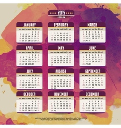 Calendar with watercolor paint 2015 design vector