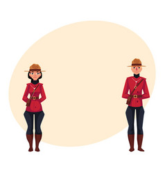 Canadian male and female policeman in traditional vector