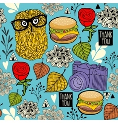 Colorful seamless pattern with hipster owls and vector image