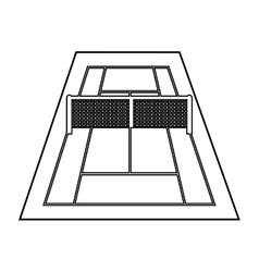 Court tennis sport equipment icon vector