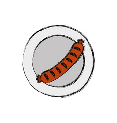 Dish with sausage icon vector