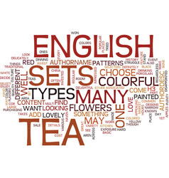 English tea sets text background word cloud vector