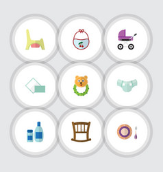flat icon baby set of rattle stroller cream with vector image
