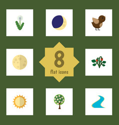 Flat icon ecology set of lunar tributary tree vector