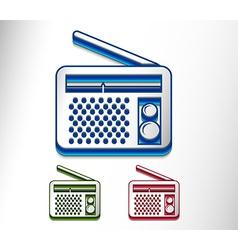 glossy radio web icon vector image vector image