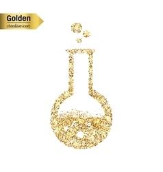 Gold glitter icon of beaker isolated on vector