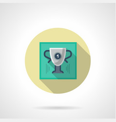 Golf winner cup flat round icon vector