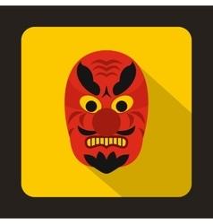 Hannya mask icon flat style vector