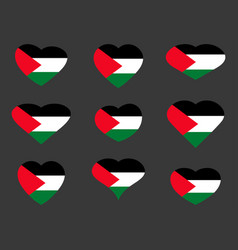 hearts with the flag of palestine i love vector image vector image