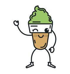 Ice cream kawaii character vector