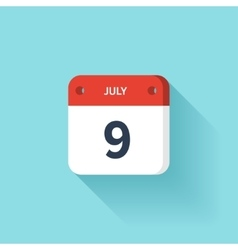 July 9 isometric calendar icon with shadow vector