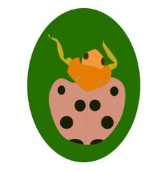 Ladybug on leaf vector