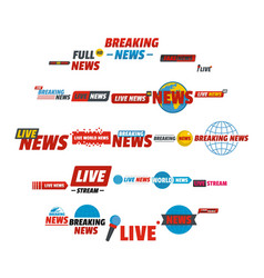 News live breaking label icons set flat style vector