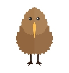 North island brown kiwi bird cartoon flat vector image