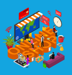 online shop concept 3d isometric view vector image vector image