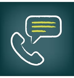 Phone call chalk icon with speech bubble vector image
