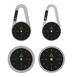 Pocket travel compass on carabiner vector