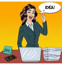 Pop Art Busy Business Woman Had an Idea vector image vector image
