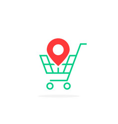 red geotag icon with green shopping cart vector image vector image