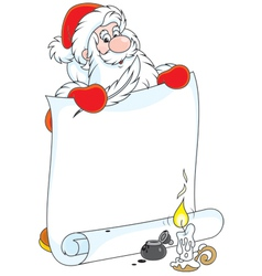 Santa claus with a scroll vector
