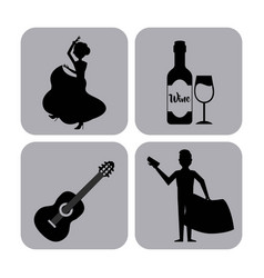 Set classic icons of spanish culture vector