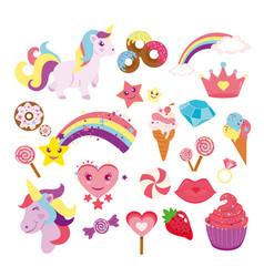 Set of cute unicorns star vector