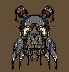 Steampunk ink skull vector